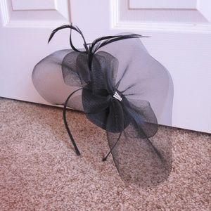 Black Mesh Fascinator Headband With Feathers